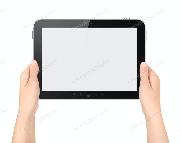 Holding Blank Tablet PC In Hands Isolated