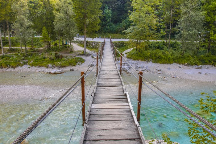 Swingbridge over Soca river near Bovec