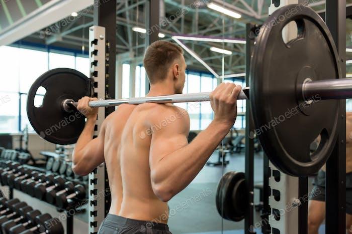 Bare Muscular Back of Handsome Sportsman