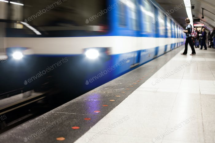 Colorful Underground Subway Train with motion blur