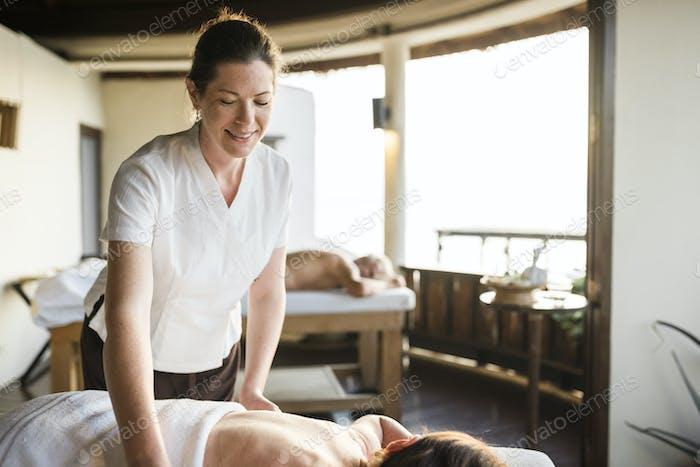 A senior having a massage