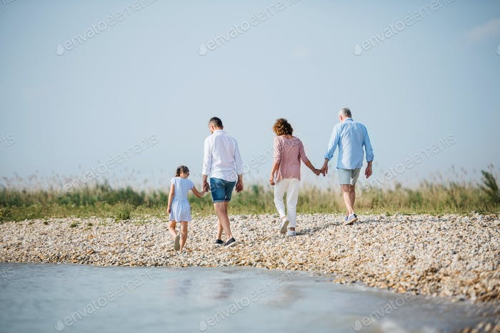 Rear view of multigeneration family on a holiday on walk by the lake, running