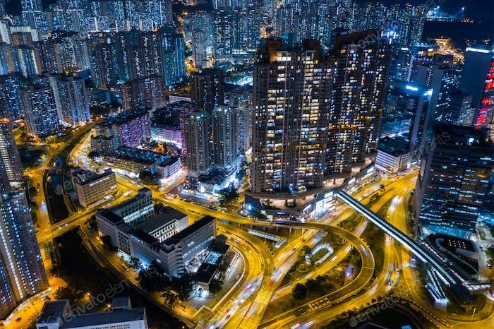 San Po Kong, Hong Kong 29 February 2019: Hong Kong city at night