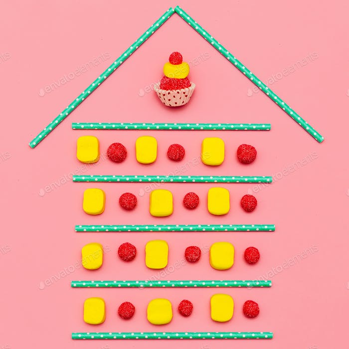 Sweet Home.  Candy Art.  Minimal Flatlay