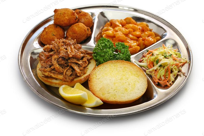 North Carolina barbecue ; pulled pork, hush puppies, baked beans and coleslaw