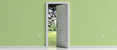 Open door on green pastel wall background, Park view out of the door opening, 3d illustration