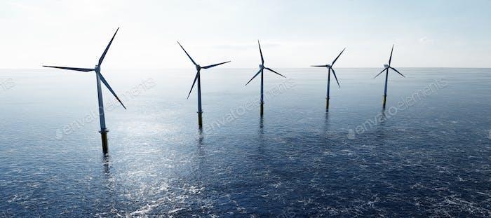 Offshore-Windenergieanlagen auf dem Meer. Nachhaltige Energie