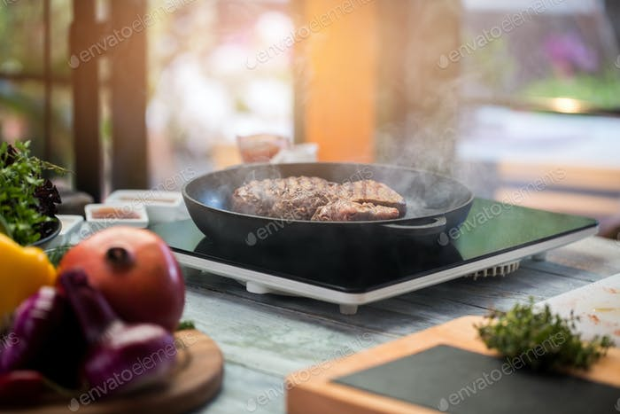 Meat on a frying pan