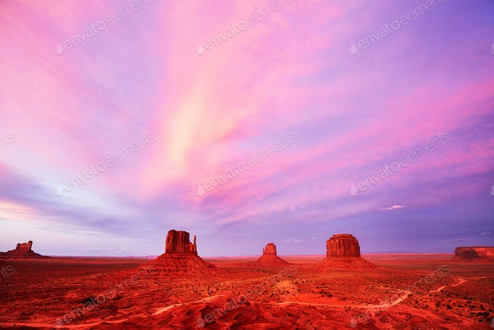 Purple sunset over the Monument Valley, USA