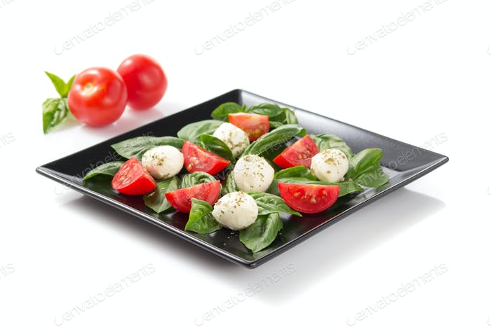 basil, mozzarella and tomato salad