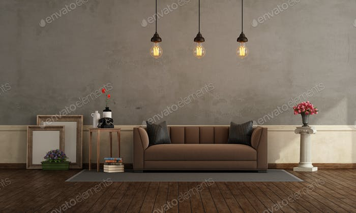 Retro living room with brown sofa