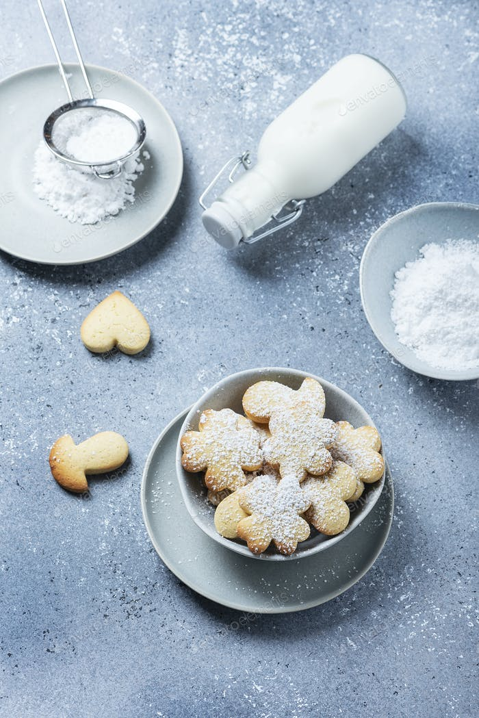 Homemade cookie with powdered sugar