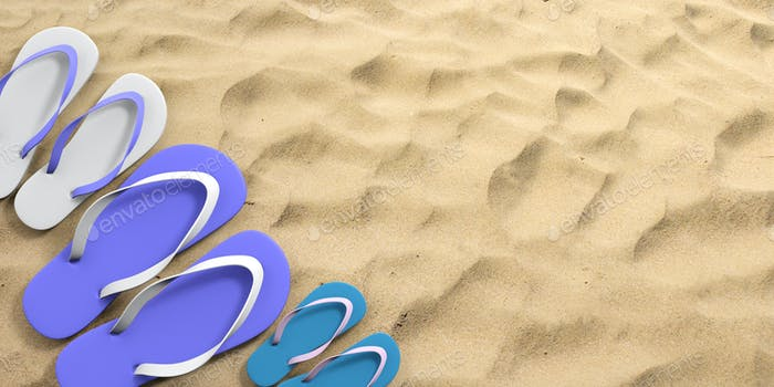 Summer family vacation. Flip flops on sandy beach, top view, copy space. 3d illustration