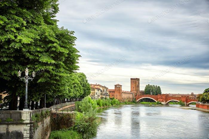 Panoramic view of Bridge Ponte Pietra in Verona