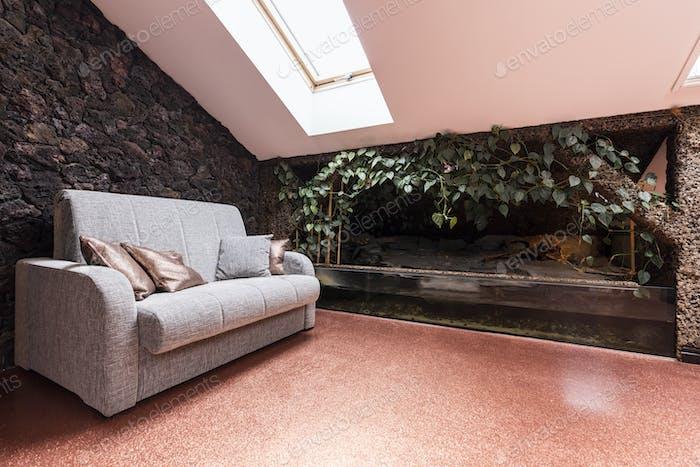 Attic room with large terrarium