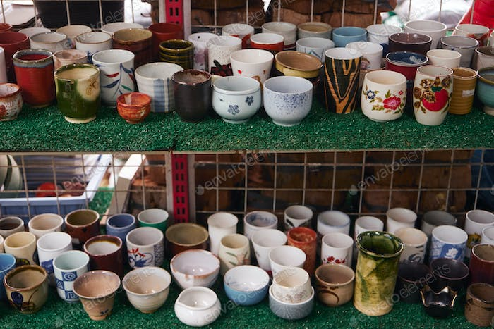 The various ceramic cups in street market