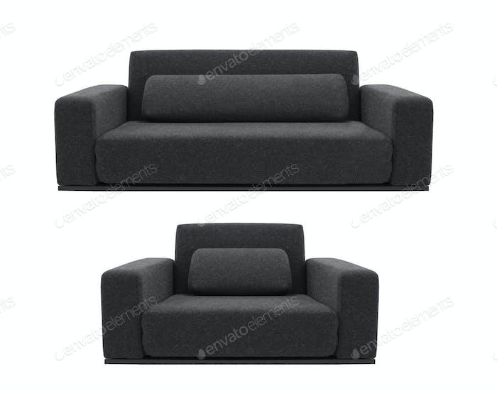 schwarzes Sofa und Stuhl isoliert auf weiß