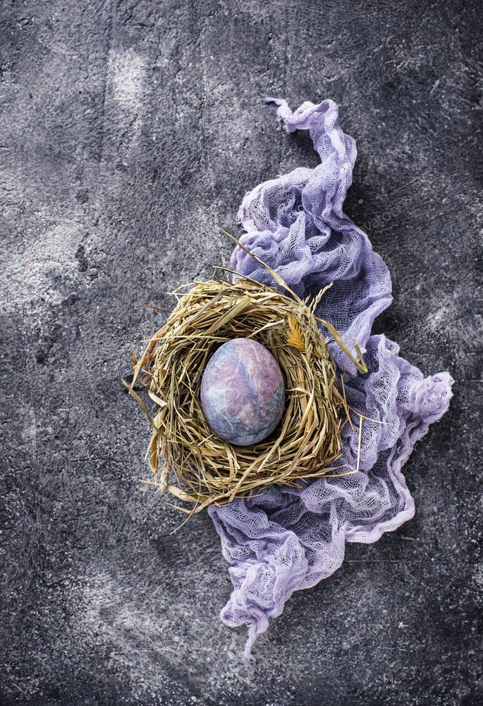 Easter eggs with stone or marble effect