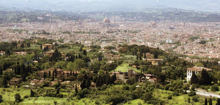 Florence in Tuscany, Italy panorama view from the North of the c