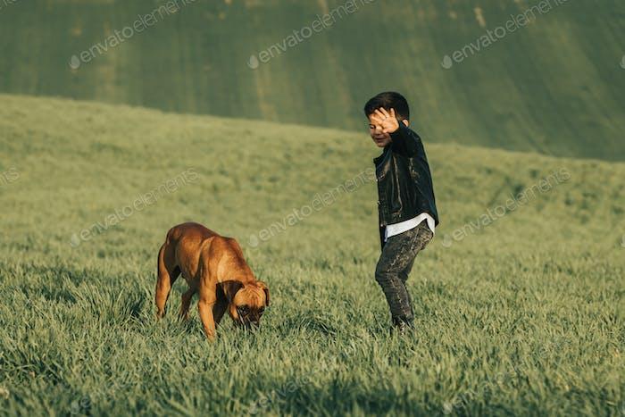 Pequeño niño y perro en el campo. Perro boxeador