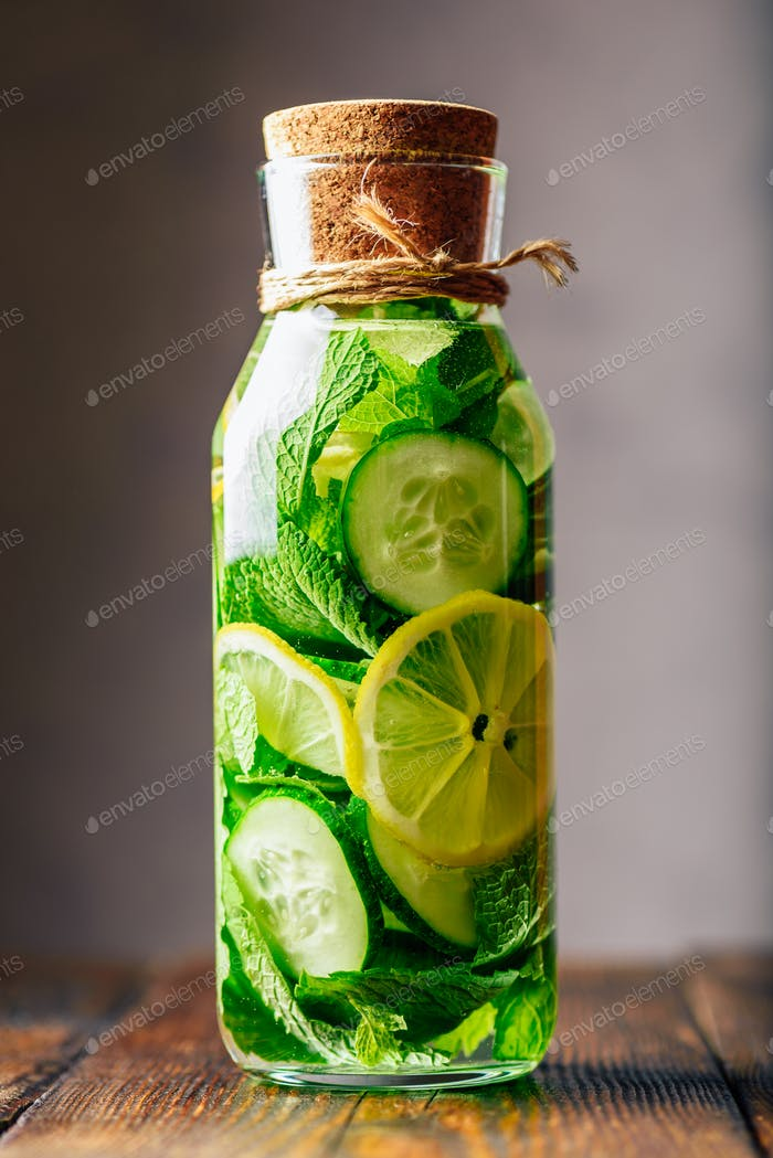Water Flavored with Lemon, Cucumber and Mint.