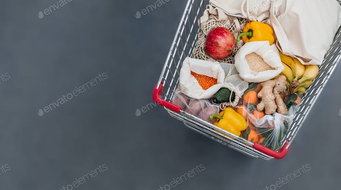 Food waste, zero waste shopping in supermarket