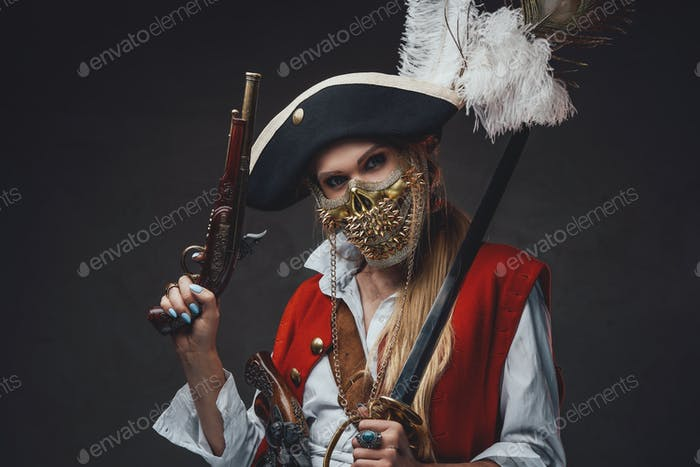 Woman with gun wearing red coat and skull mask