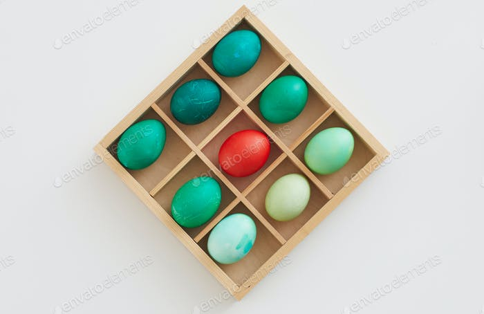 Easter Eggs Composition in Wooden Crate
