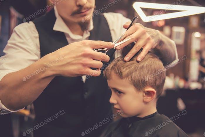 Kid at the barber shop