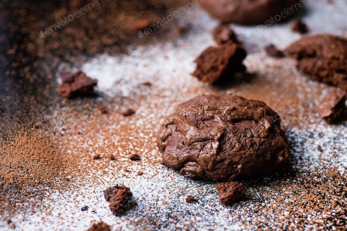 Homemade chocolate cookies on dark background