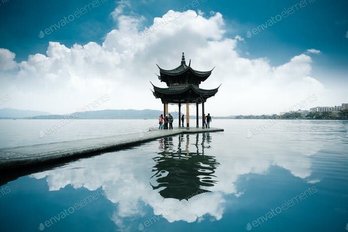 chinese ancient pavilion on the west lake