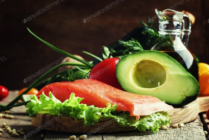Ingredients for salad with smoked salmon and avocado