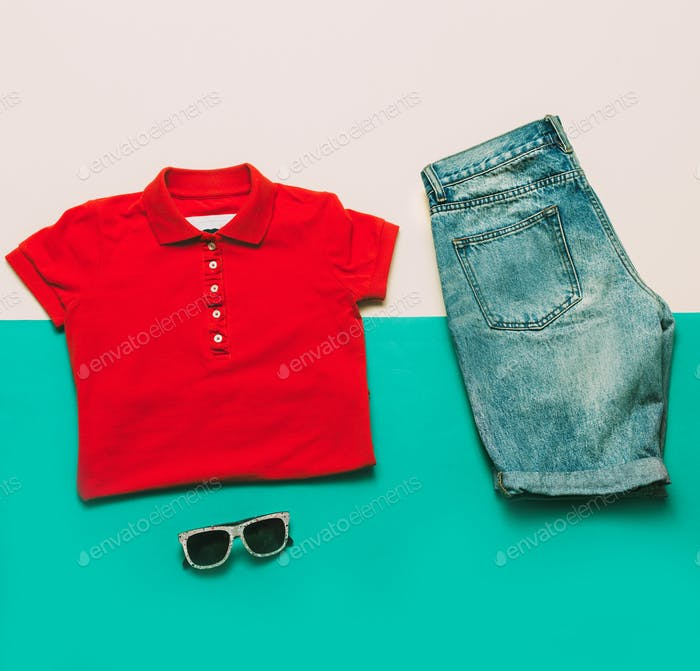 Summer urban style set. Jeans T-shirt glasses. fashion clothes