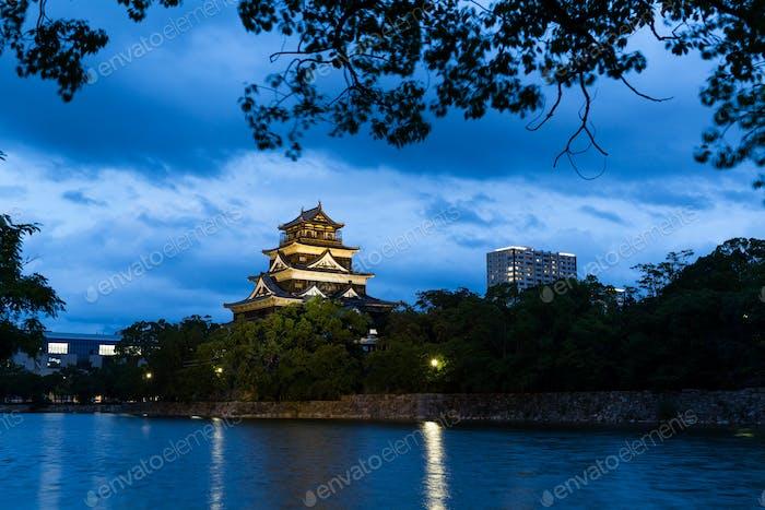 Hiroshima Castle at night
