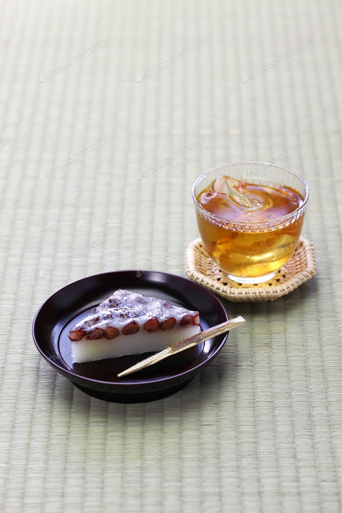 wagashi, japanese traditional confections served with mugicha