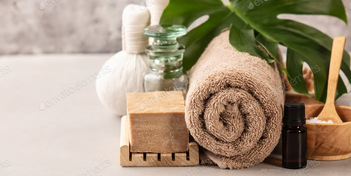 Accessories for spa procedures. Natural ingredients for beauty