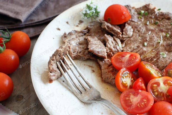 Thin slice of Grilled Machete Steak or Skirt Steak