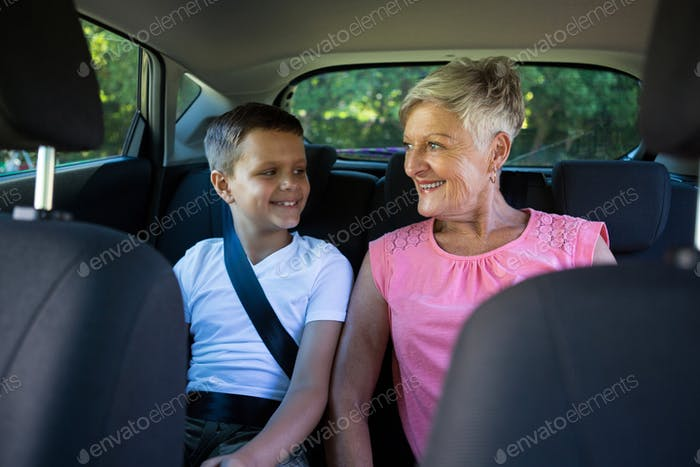 multi-generation family, grandmother, grandson, granny, relationship, car, seat, seat belt, modern,