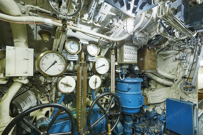 Second war world submarine interior. Military vessel. Horizontal
