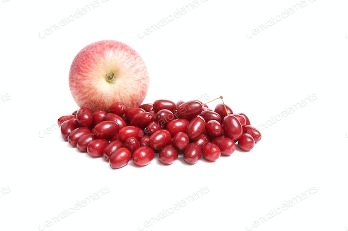 Juicy autumn fruits on a white.