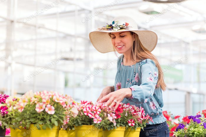Thumbnail for Happy young woman selecting a petunia plant