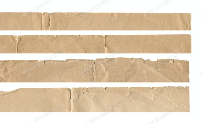 collection set of vintage old paper torn edges isolated on white