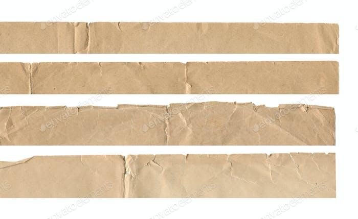 Sammlung Satz von Vintage alten Papier zerrissenen Kanten isoliert auf weiß