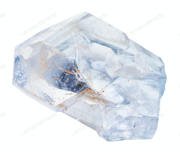 natural celestine gemstone isolated