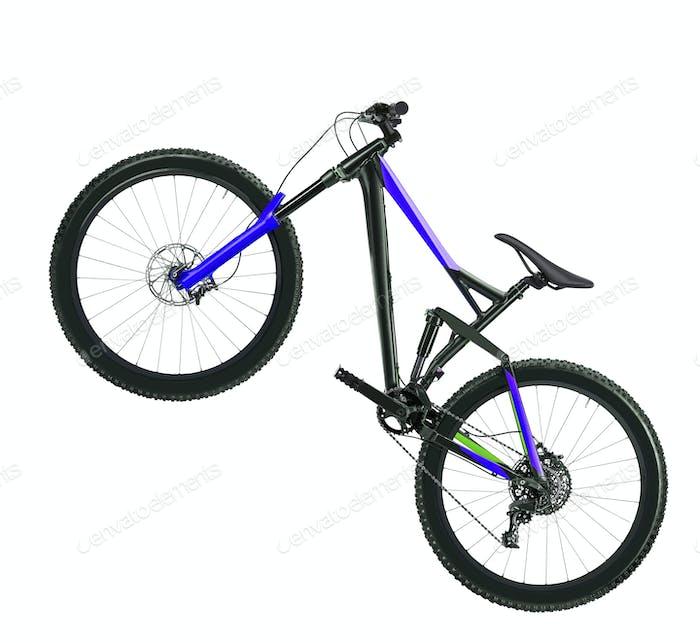 blaues Fahrrad auf weißem Hintergrund isoliert