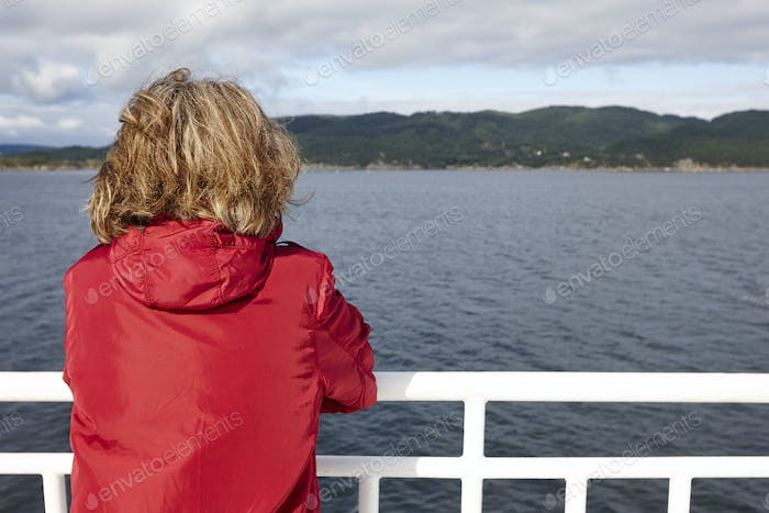 Norwegian cruise traveler. Fjord landscape. Summer holiday outdoor. Norway