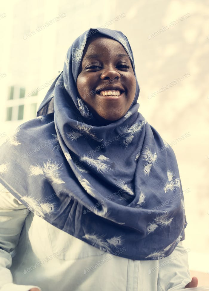 A cheerful Muslim woman