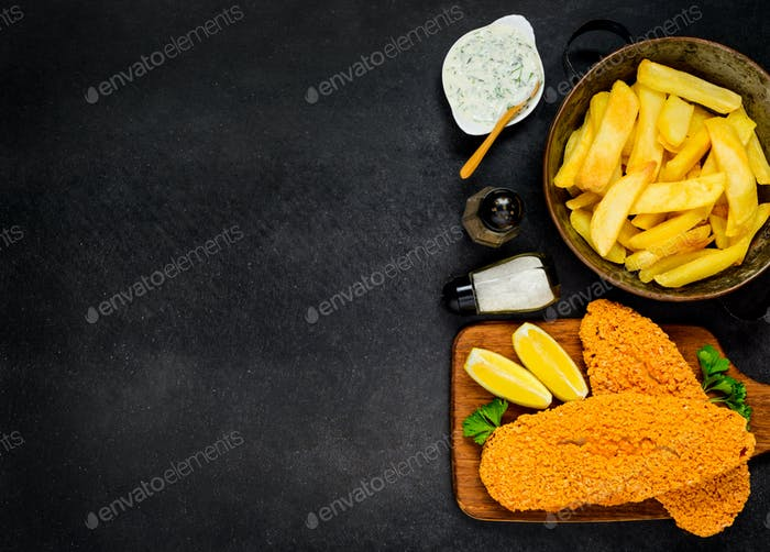 French Fries with Baked Fish on Copy Space