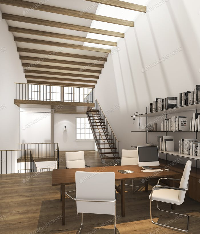 3d rendering working studio with daylight and shadow from roof