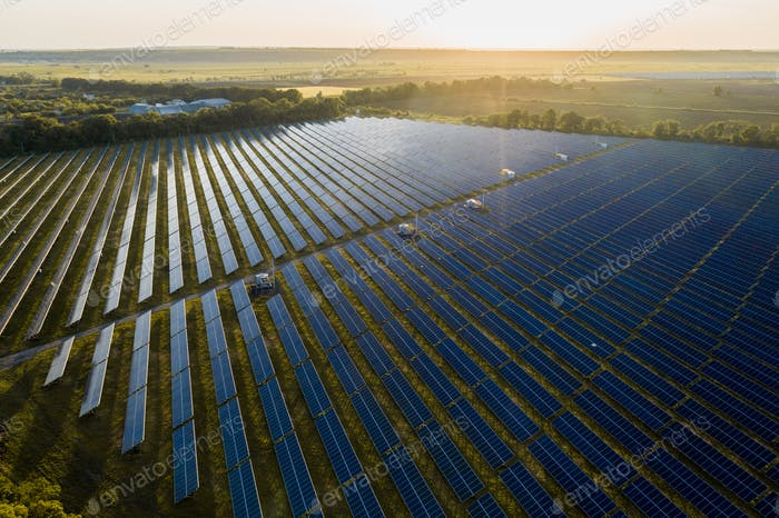 Aerial top view of a solar panels power plant